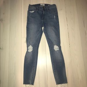 Frame Le High Skinny Distressed Jeans - Size 27